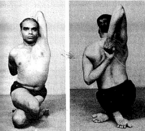 Mr. Iyengar sitting in Gomukhasana