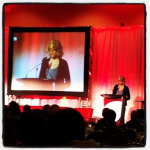 Cathy presenting the Dr. Charles Roy memorial lecture at the 2013 Ontario HIV Treatment Network research conference.